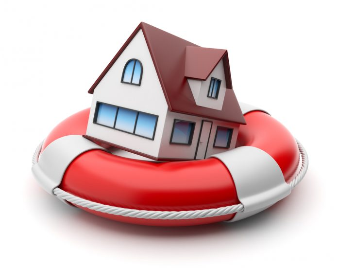 House in lifebuoy. Property insurance concept. Isolated on white