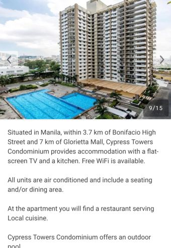 2 Bedroom unit for sale in Cypress Tower- Taguig Condominium